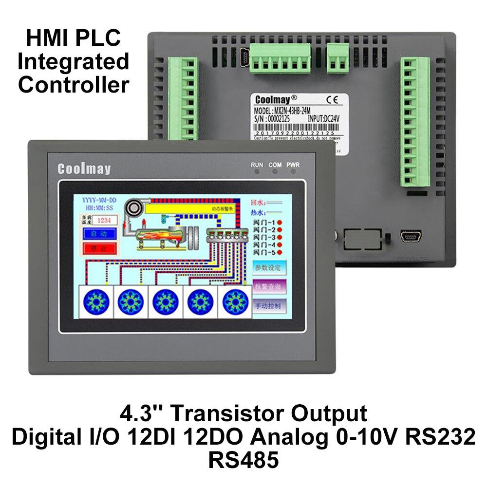 4.3'' HMI PLC Integrated Controller 4.3Inch Touch Panel DC24V Transistor Output Digital I/O 12DI 12DO Analog 0-10V RS232 RS485